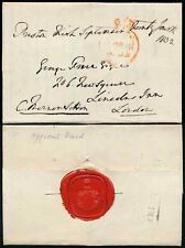 GB 1832 PRESTON KIRK BOXED on OFFICIAL PARLIAMENTARY PAID + SEAL FREE FRANK