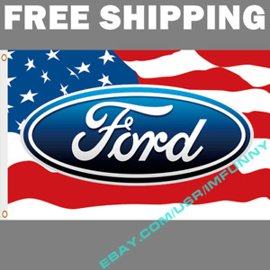 Ford Logo USA Stars Banner Flag 3x5 ft Racing Car Show Garage Wall Decor NEW