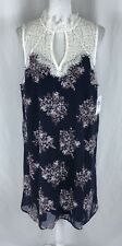 Sequin Hearts Shift Dress Floral Keyhole Lace Collar Sleeveless Navy Blue XXL