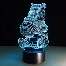 Winnie the Pooh USB 3D illusion Night Light 7 Color Acrylic LED Desk Table Lamp