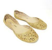 Melissa Campana Gold Glitter Ballet Flats Zig Zag Jelly Shoes Womens Size 10