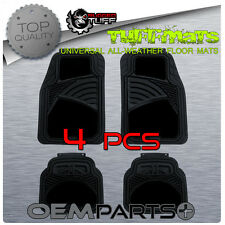 BLACK RUGGED TUFF 4 PCS FLOOR MATS DURABLE NEW SEMI CARPET HEAVY DUTY TRIM CUT