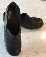 EUC Dansko Black  Leather  Block Heels Slip On Shoes US 9.5 EU 40