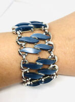 Wide Signed CLAUDETTE Slate Blue Thermoset Bracelet Vintage Jewelry