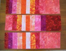 "30 x 5"" Squares Red Orange & Pink Botanical Patchwork Quilting Fabrics"