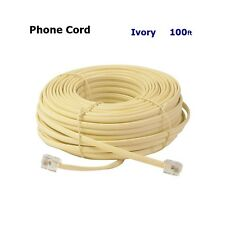 100FT MODULAR EXTENSION CORD THELPHONE CORD WIRE LINE CABLE IVORY