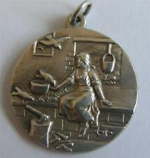 ANTIQUE GERMAN SILVER CINDERELLA FAIRY TALE CHARM ~ BROTHERS GRIMM