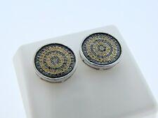 Mens/Ladies  Canary/Black Diamond Stud Earrings 13 Mm