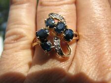 Sapphire Oval 5 Stones and Diamond Ring 10KT SOLID YG