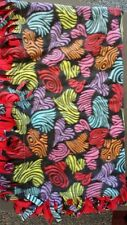 "handmade quilt, swirly hearts, size 52""x29"", mostly black and red"