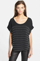 NEW Joie Agacia G Embellished Beaded 100% Silk Blouse Top Black Size Small $398