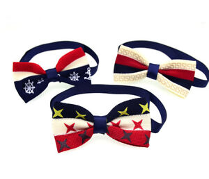 Pet Puppy Dog Cat Bow Ties Adjustable Red White Blue Knitting Cotton Dog Bowties