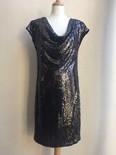NEXT Black Sequin Shimmer Cowl Draped Neck Cocktail Party Dress - UK 12