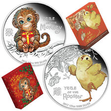 Baby Monkey and Baby Rooster 1/2oz Silver Proof Coins (Special Offer)