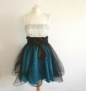 Absolutely Beautiful Ballerina Style 80's Vintage Occassion Dress Blue Black S