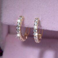 18k yellow gold gp 925 silver earrings simulated diamond small classic huggies