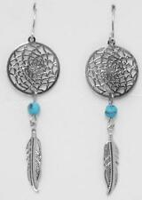 Dreamcatcher Earrings with Turquoise Beads - NEW - Feathered -MADE IN USA- E-92
