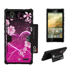 Beyond Cell Shell Case Rugged Card For ZTE Warp Elite Z9518 Pink Rosy Heart