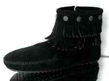Minnetonka Moccasins Tramper Damen Boots Lamm- Wildleder Schwarz Größe 11 NEU