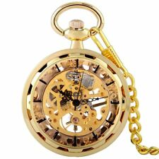Vintage Mechanical Pocket Watch Windup Pendant Skeleton Antique Retro Fob Chain