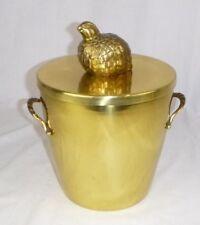 Vtg Mid Century Georges Briard Brass Ice Bucket w/ Partridge Handle Limited Coll