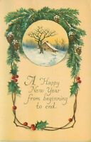 DB Xmas Postcard E448 Happy New Year Snow Cottage Pine Cones Boughs Holly