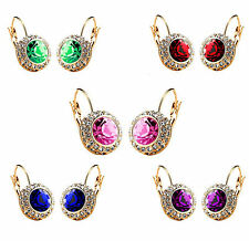 Round Earrings with Colourful Austrian Crystals and Rhinestone, gold coloured