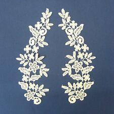 Ivory White Lace Applique Pair #66 Aust Seller Tutu Dance Costume Craft Trim