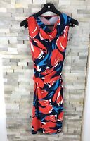Phase Eight Ladies Size 8 Drape Bodycon Dress Floral Red Blue