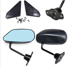 Pair of Car Carbon Fiber Side View Mirrors With Blue Mirror Surface Universal