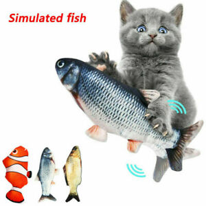 Electric Wagging Moving Cat Fish USB Interactive Pet Toy Plush Catnip Fish UK