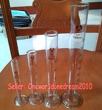 4PCS GRADUATED CYLINDERS - 10mL, 25mL, 50mL, 100 mL CYLINDER LAB GLASSWARE
