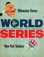 1958 World Series program New York Yankees v Milwaukee Braves Game 1 SCORED Fair