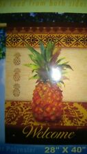 "New Fall Yard Flags Pineapple Welcome 28"" x 40"" Breeze Art Solar Silk Polyester"