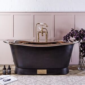 Witt & Berg Copper Bateau Bathtub - Charcoal Exterior / Nickel Interior