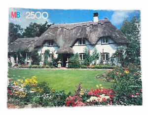 """MB Milton Bradley 2500 Grand Puzzle Vintage Thatched Eaves Cottage """"New"""" Sealed"""