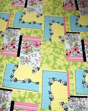 Multicolor Geo Floral Jersey Knit Print Yellow Pink Green Light Blue Fabric 3 yd