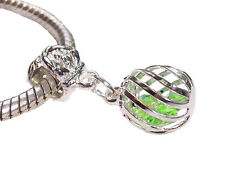 Caged Green Crystal August Birthstone Dangle Charm for European Slide Bracelets