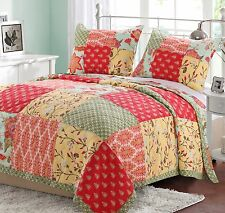 EVA HONEYDEW Full Queen QUILT SET :  BRIGHT FLOWERS RED GREEN YELLOW TEEN