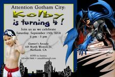 Batman Gotham City Birthday Party Invitation Cartoon Superhero Custom Unique