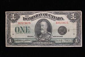 1923 Dominion of Canada. ($1) One Dollar. Campbell-Sellar. Black Seal.