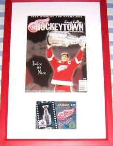 Steve Yzerman autographed signed auto Red Wings 1998 Stanley Cup card framed UDA