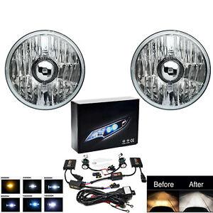 5-3/4 Crystal Clear Glass Metal Headlight Headlamp 8000K 8k HID Light Bulb Pair