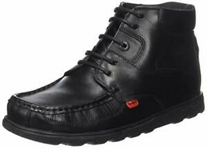 Kickers Fragma Boys School Shoes Black Leather Lace Boots in Black New £31.99