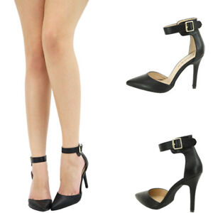 Black Pointy Toe Buckle Ankle Strap Stiletto High Heel Classic Pump Sandal Shoes