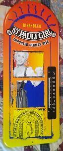 RARE Vintage ST PAULI GIRL BEER Large Metal THERMOMETER SIGN....NICE!