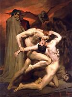 WILLIAM ADOLPHE BOUGUEREAU DANTE VIRGIL IN HELL OLD ART PAINTING PRINT 3114OMLV