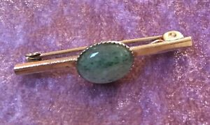 Old - Lapel, Tie Pin or Scarf Pin, With Green Agate Oval Stone