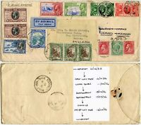 GB 1935 SILVER JUBILEE AIRMAIL to JAMAICA REDIRECTED MULTI TIMES TO+FROM CAYMANS