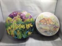 Beautiful Vintage Spring Canisters Tins Yellow Flowers Country Cottage Swans